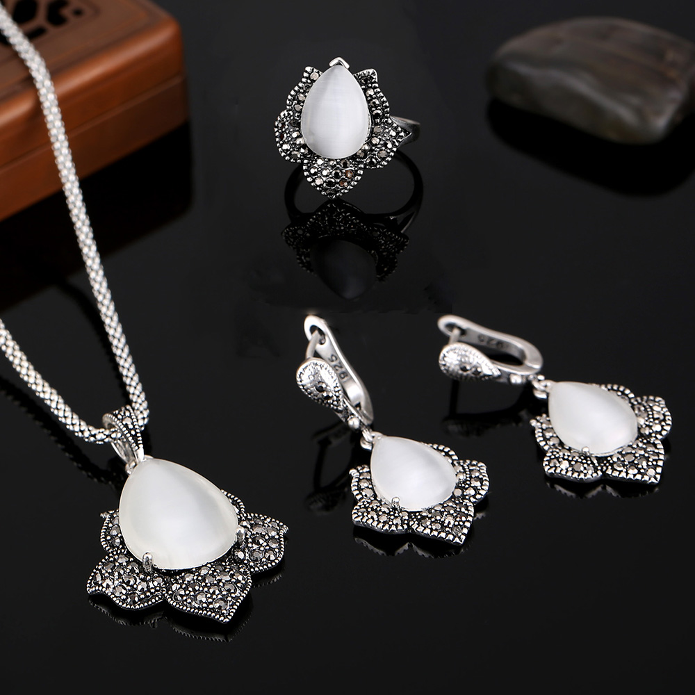 HENSEN Hight Quality Vintage Silver Plated Turkish Jewelry Black Rhinestone And Natural Stone Jewelry Sets