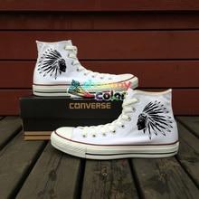 White Converse Chuck Taylor Women Men Shoes Indians Original Design Hand Painted Shoes Woman Man Sneakers Skateboarding Shoes