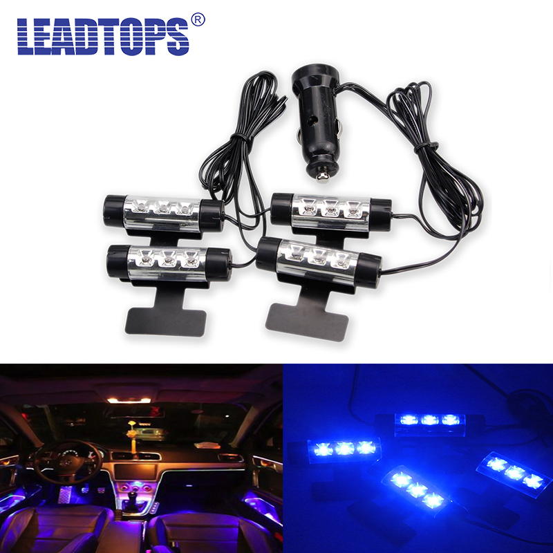 LEADTOPS 4x 3LED Interior Car Decorative Light Atmosphere Lights Interior Lights Foot Lamps 4in1 12V LED light Glow Blue Lamp AF