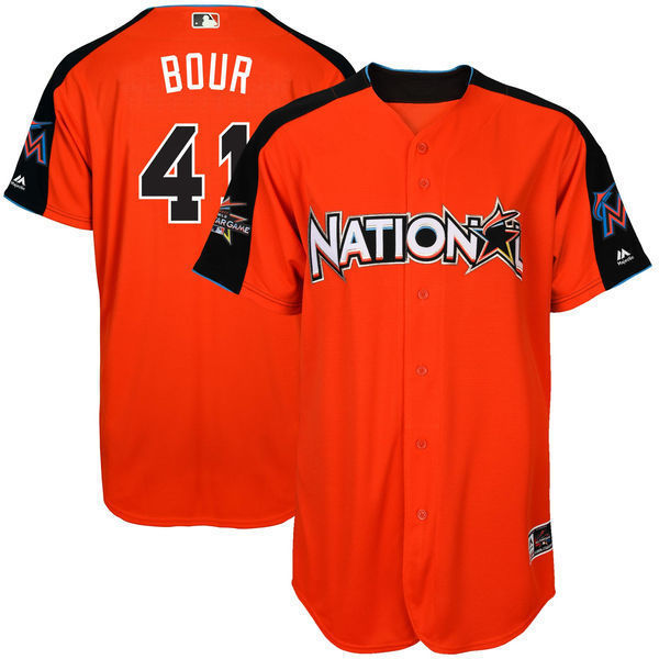 MLB Mens National League Justin Bour Baseball Orange 2017 MLB All-Star Game Home Run Der ...