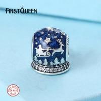 FirstQueen Solid 925 Silver Christmas Night Charm, Blue Enamel Beads Fits bracelets perles pour la fabrication de bijoux