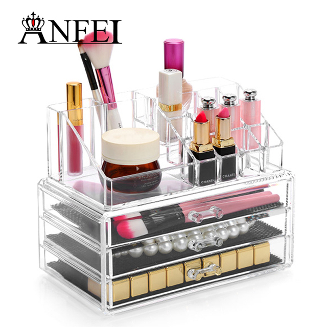 ANFEI High Quality Makeup Cosmetics Jewelry Organizer Clear Acrylic
