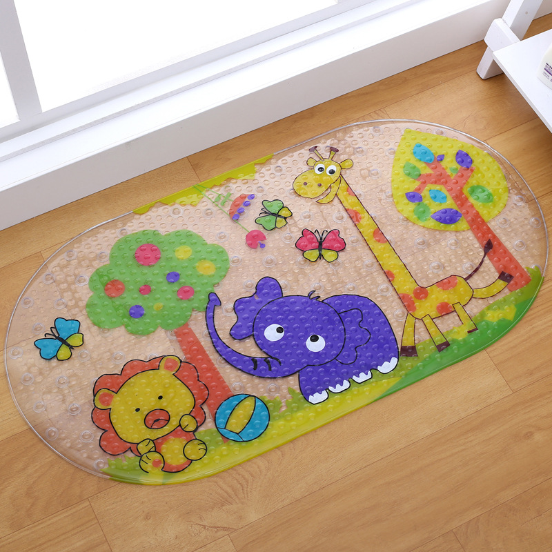 WOFO 38*69CM PVC Shell Non Slip Bath Mat Massage Shower Pad With Sucking Cartoon Child Bath Mat