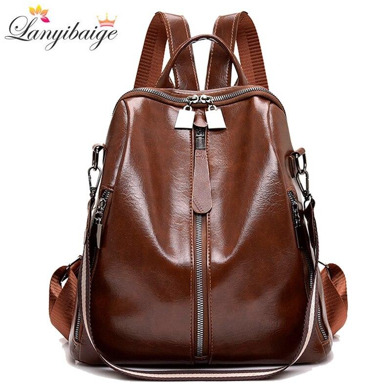 2019 new women 3 in 1 vintage backpack multi pocket female pu leather backpack women shoulder