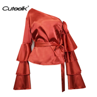 Cuteelk Women Skew Collar Tops Shirts Three Layers Flare Sleeve One Shoulder Blouse Female Retro Silk Imitation Blusas with Belt