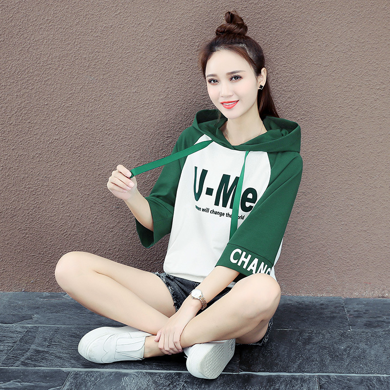 2019 Spring Sweatshirt Women 39 s Sleeves Fashion Letter Print Casual Cotton Hooded Section Bluzy Damskie Korean Clothes TQ0365W in Hoodies amp Sweatshirts from Women 39 s Clothing