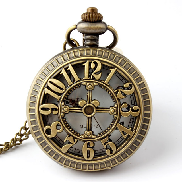 Bronze Vintage Retro Romen Number Hollow Quartz Pocket Watches Necklace Pendant