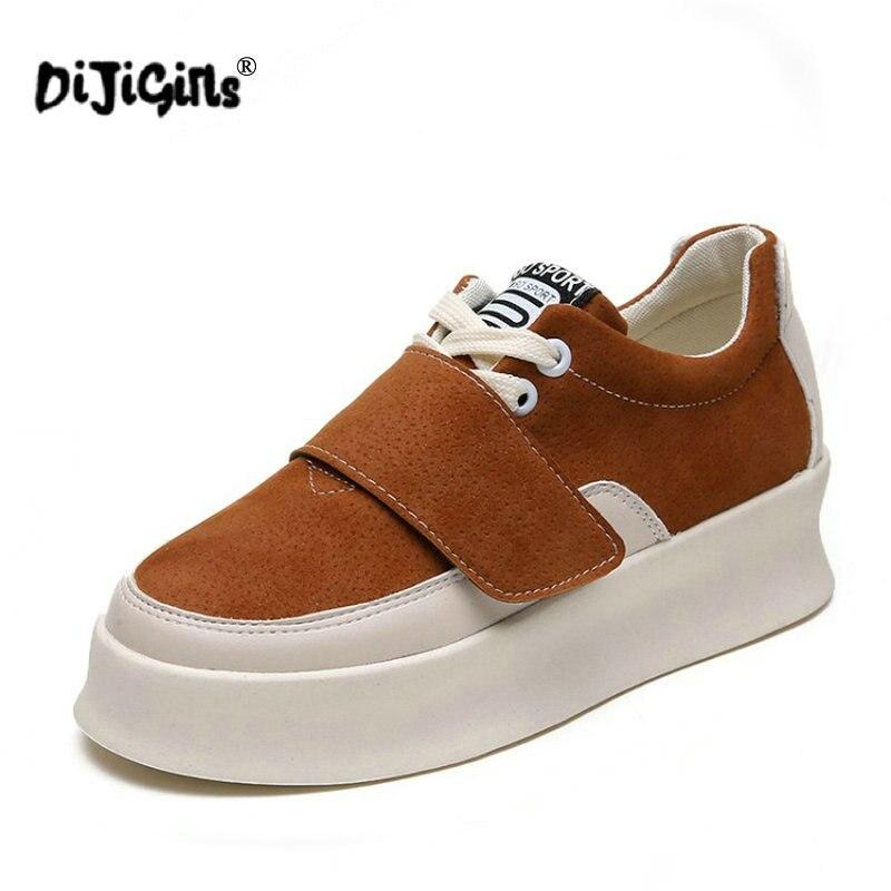 Della Di Piattaforma brown Elaborazione Cuoio Tennis Casual Zapatos Autunno  Modo Calzature Confortevole Scarpe Piatto ... bb9a63e2d8e