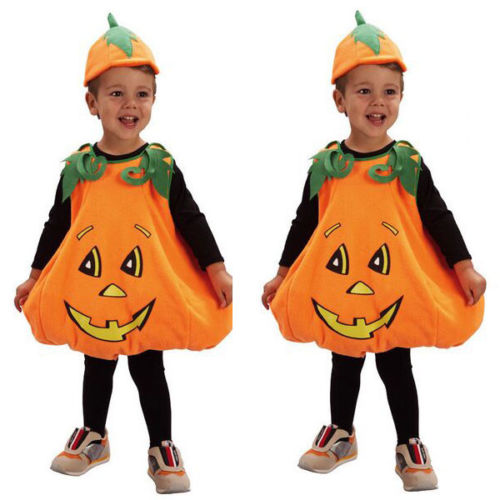Kid Halloween clothes 2017 Hot Toddler Boys Girls Pumpkin Costume Halloween Girl Boy Fancy Dress Outfit cosplay cloth with hat