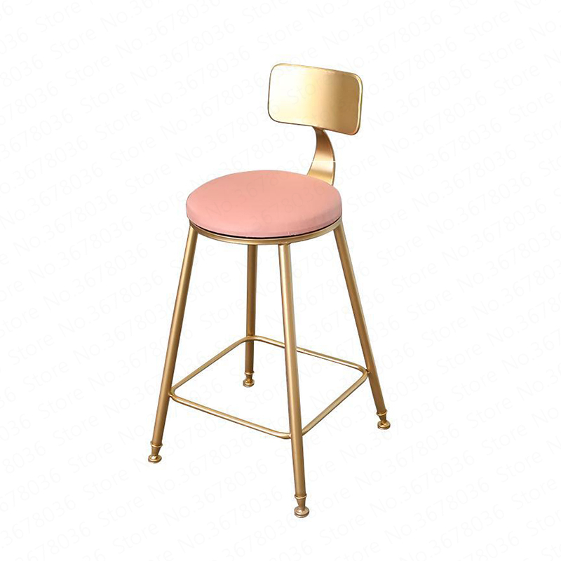 Iron Gold Bar Stool Simple Home Backrest Chair High Modern Cafe Bar Lounge Gold Furniture Tabouret De Bar Minimalist(China)