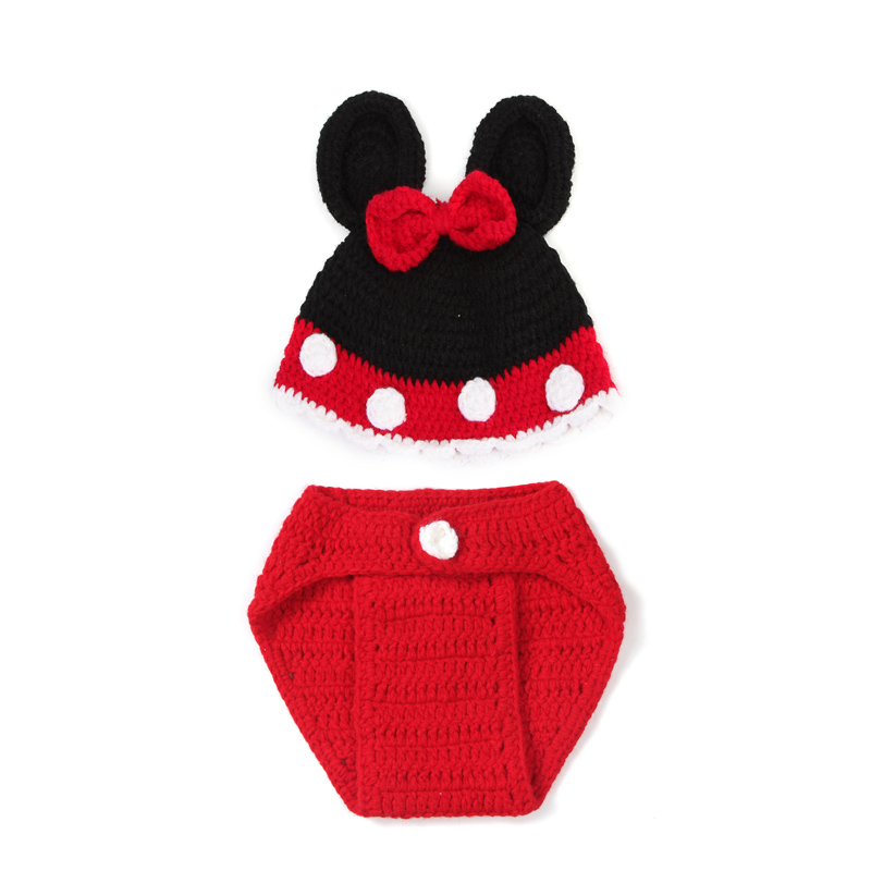 Fashion Infant Soft Handmade Cotton Mic key Mouse Hand-knit Wool Dress Crochet Baby One Hundred Days Newborn Photography Props