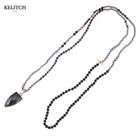 2016 Newest 1Pcs Luxury Beaded Necklace Black Crystal Beads Handmade Bohemian Pendant Necklace For Women Gifts
