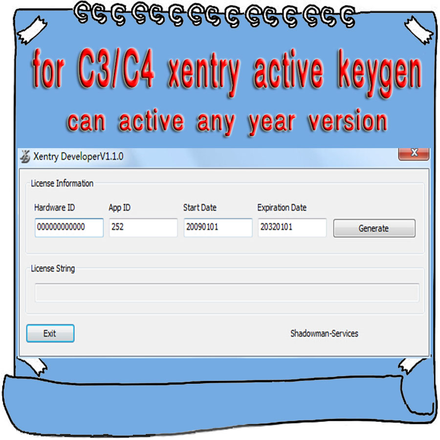 For MB Star Xentry C3 C4 Active Xentry Developer V1 1 0 Keygen Calculator Activation Cracker