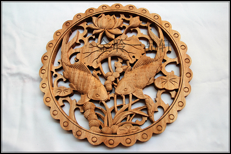Chinese Art Twin Carp Handcraft Wood Carving Wall Plaque-in ...
