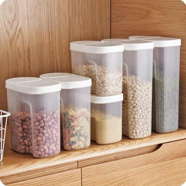 Transparent Plastic Grains Organizer Kitchen Dry Goods Storage Sealed Jars Food  Container