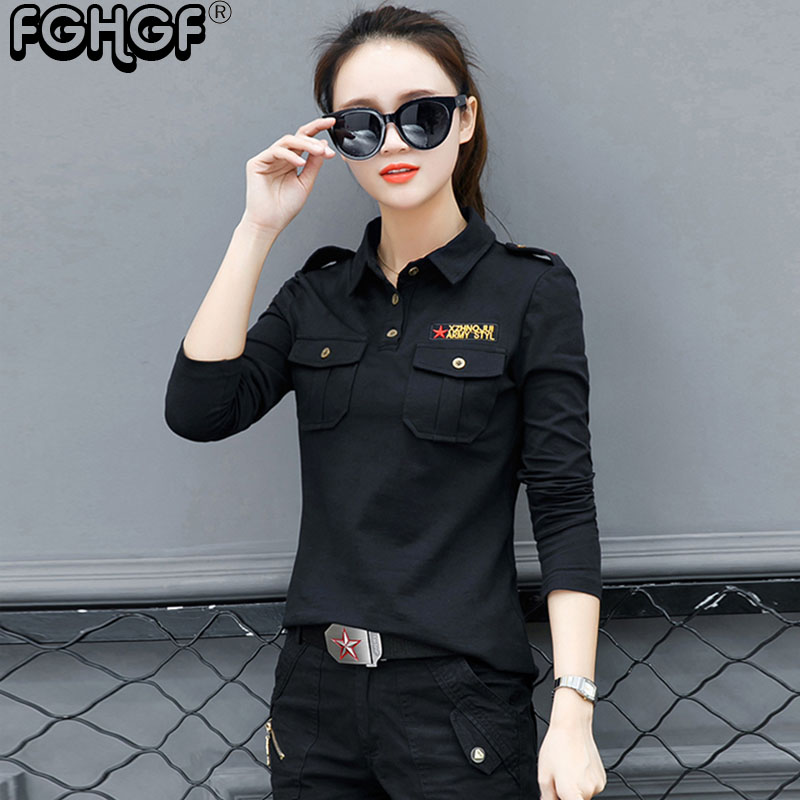 Autumn new Polo Shirt Plus Size women long Sleeve tops military style army green black Cotton Slim Polo Shirt embroidery M9806