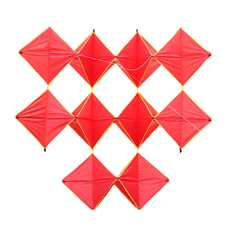 Professional 160cm Power Single Ten Diamonds Kite / Red Diamonds Kites With Flying Tools Beach Kite Flying