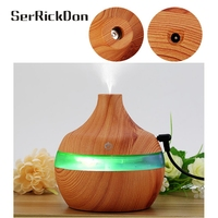 300ML Wood Essential Oil Diffuser Aromatherapy Humidifier Aroma Mist Nebulizer 7 Color Light AC Setting
