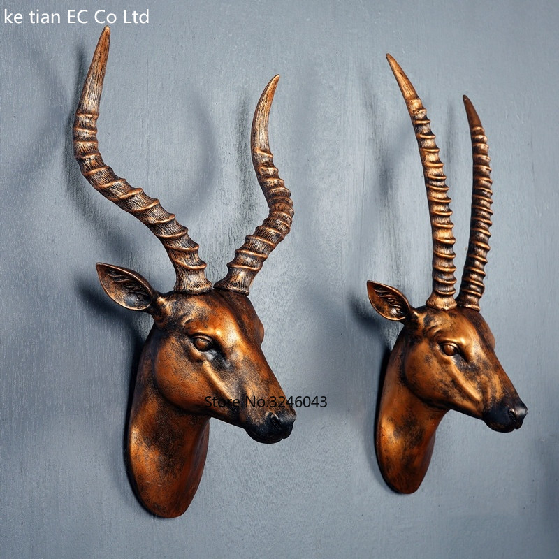 Chinese creative antelope headband pendant living room animal head wall decoration style retro stereo wall gifts