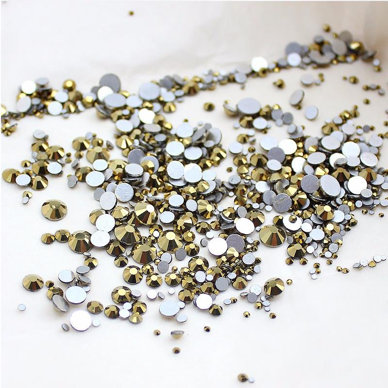 High quality 1packs Mix Sizes Aurum / Gold Non Hotfix Flatback Nail Rhinestones For Nails 3D Nail Art Decoration Gems 1000pcs mix sizes dark siam red crystal glass non hotfix rhinestones for nails accessoires 3d strass nail art decorations gems