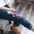Персонализированные старинные вышивка гладью лоскутная эластичный джинсовые брюки мори девушка джинсы бутик брюки женщины