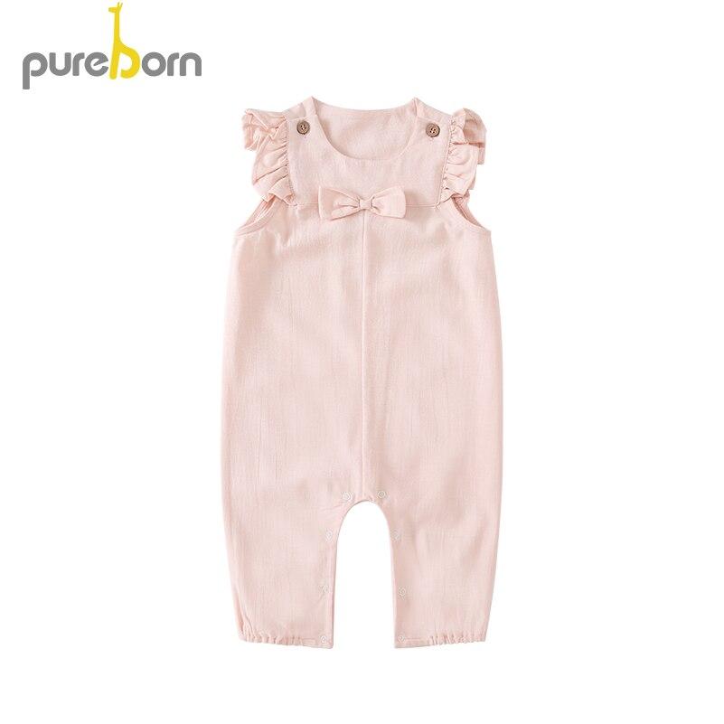 Overalls Pureborn Kinder Mädchen Overalls Baby Infant Bogen-knoten Rüschen Ärmellose Overall Prinzessin Urlaub Sommer Frühling Kleidung AusgewäHltes Material