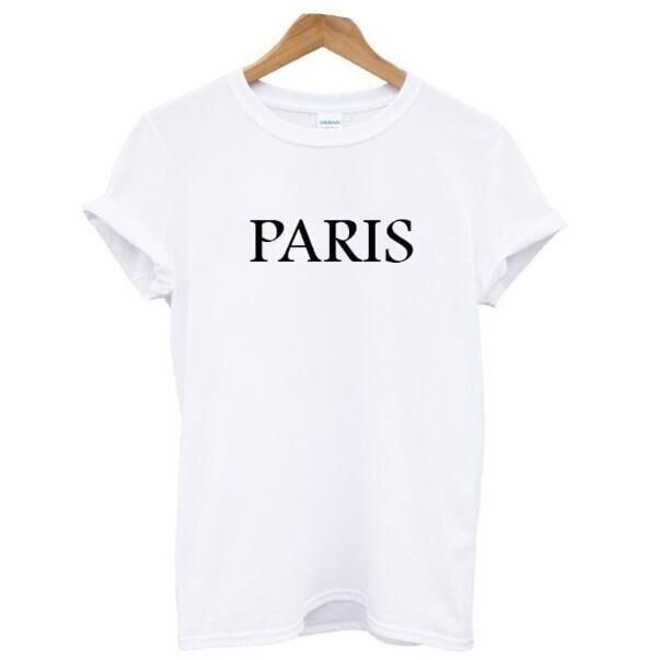 PARIS Nové letní Dámské bílé bavlněné tričko topy Krátký rukáv O-neck Dopis Vytištěny Příležitostné tričko tričko dámské Dámské oblečení  t