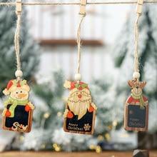 2PCS Creative DIY Wooden Christmas Snowman Blackboard Ornaments Cute Tree Pendant Kid New Year decoration Gift navidad