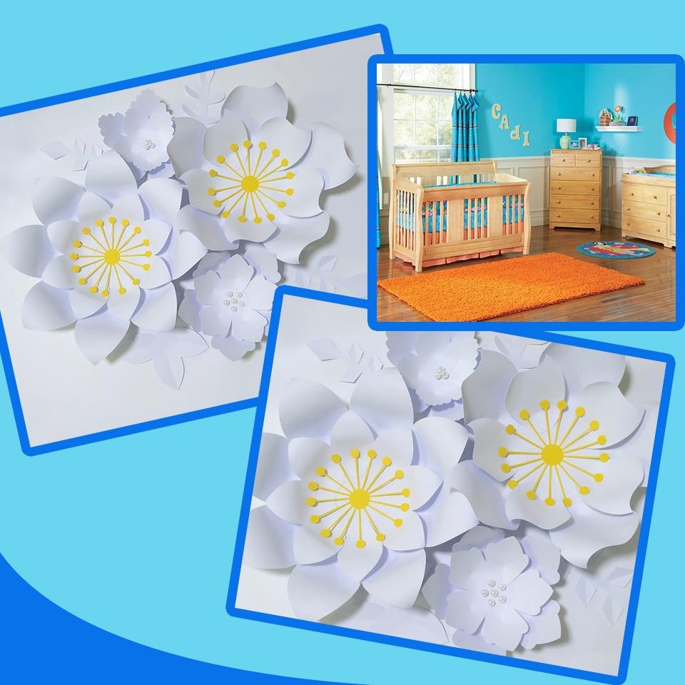 Ручной работы белая роза DIY бумажные цветы белые листья набор для вечеринки свадебные декорации Декорации для детской стены деко видео обуч
