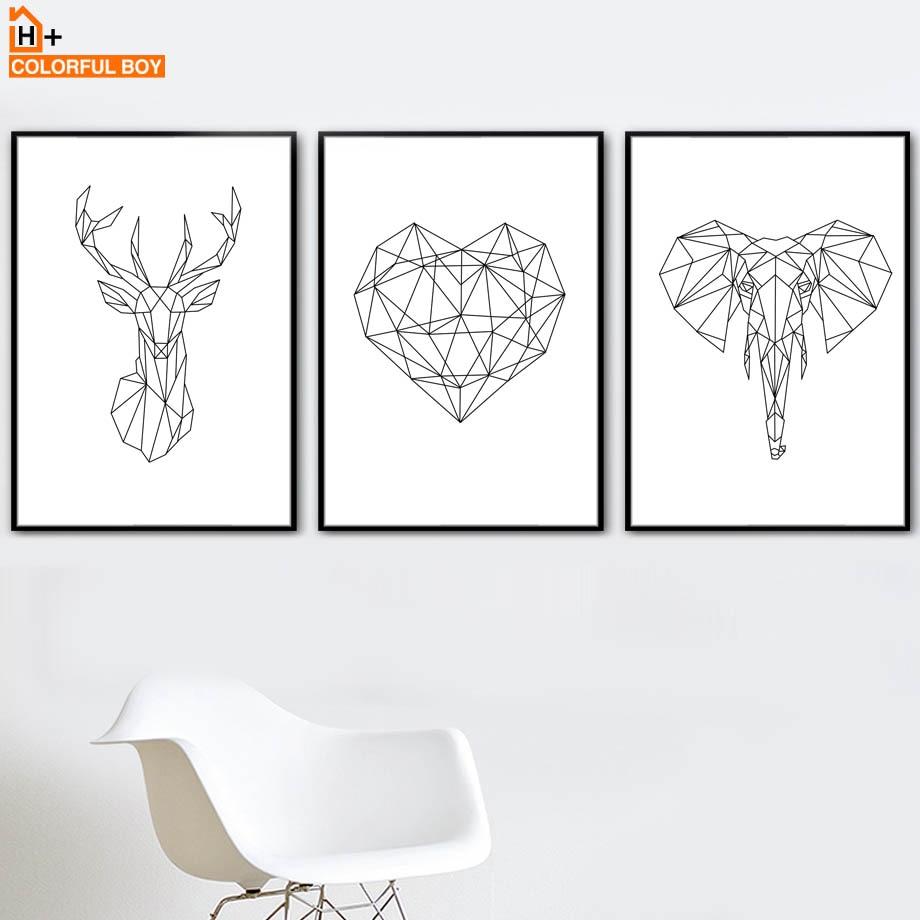 Geometrie herten olifant hart kunst aan de muur canvas schilderij - Huisdecoratie