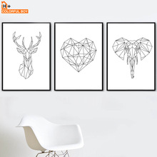 Geometry Deer Elephant Heart Wall Art Print Canvas Painting Nordic Poster Black White Animal Wall Pictures For Living Room Decor