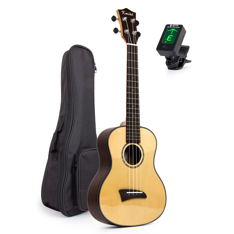 Kmise Tenor Ukulele Solid Spruce Clear Gloss Ukelele Uke 26 inch 4 String Hawaii Guitar Rosewood Back Bridge with Gig Bag Tuner ukulele bag case backpack 21 23 26 inch size ultra thicken soprano concert tenor more colors mini guitar accessories parts gig