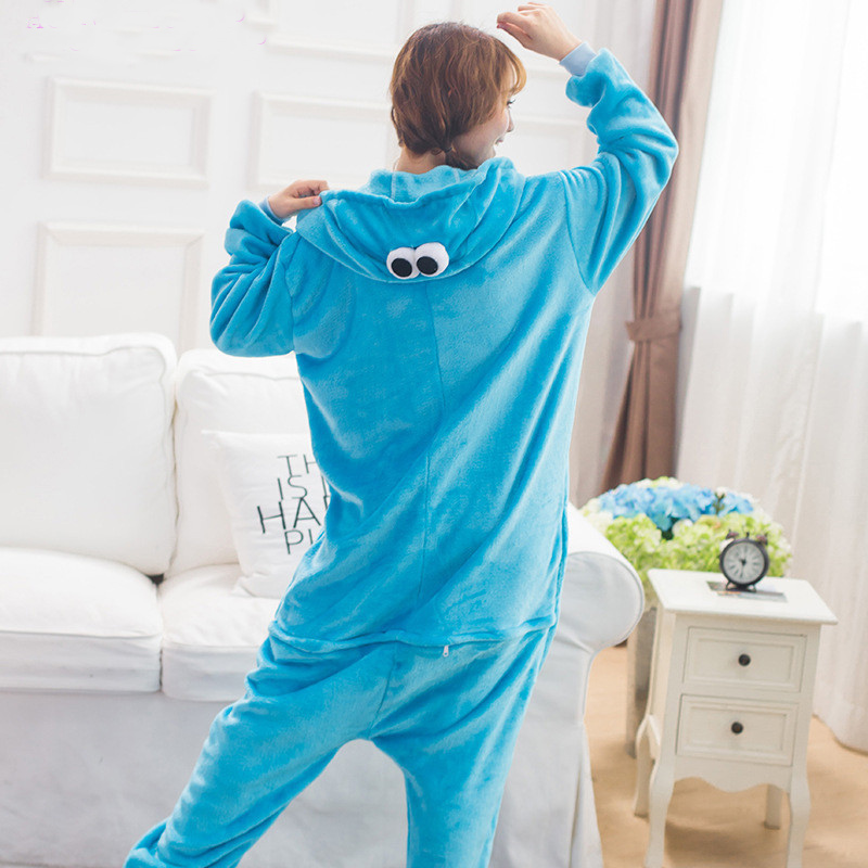 Kigurumi-Blue-Sesame-street-Onesies-Pajamas-For-Adults-Cute-Animal-Cosplay-Pyjamas-Unisex-Cartoon-Anime-Cosplay