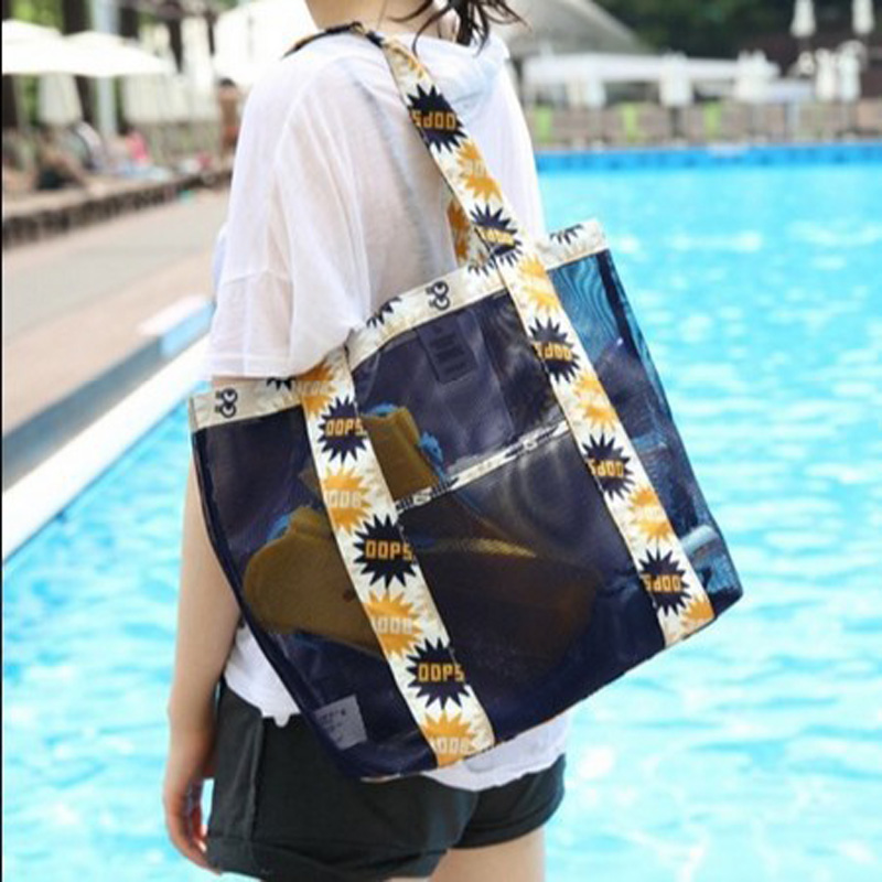 2019 New Outdoor Summer Beach Bags Women Nylon Swimming Bags For The Pool Storage Floral Mesh Sport Bag Bath Toiletry Bags