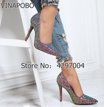 2018 Women s Sequin Pumps Sexy Pointed Toe High Heel Slip On Stiletto Pumps Large Size
