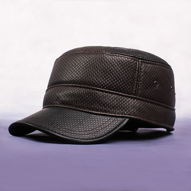 Men'S Winter Hat True Cortex Leather Baseball Caps High Quality Flat Top Hat Dark Coffee Gorras With Ear Flaps For Adult