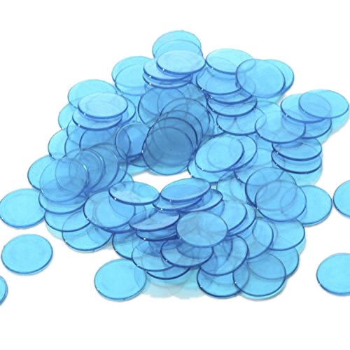Wholesale! Approx.100Pcs 3/4 Inch Plastic Bingo Chips, Translucent Design, for Classroom and Carnival Bingo Games Blue