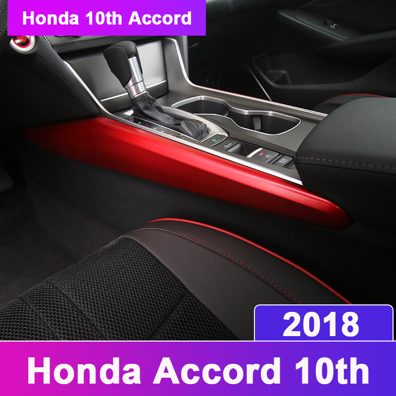 Car interior gear side trim strips modified interior control gear trim rails auto parts For Honda Accord 10th 2018 Accessories