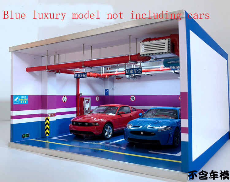 1 18 model car garage scene underground parking lot double parking space display box dust cover