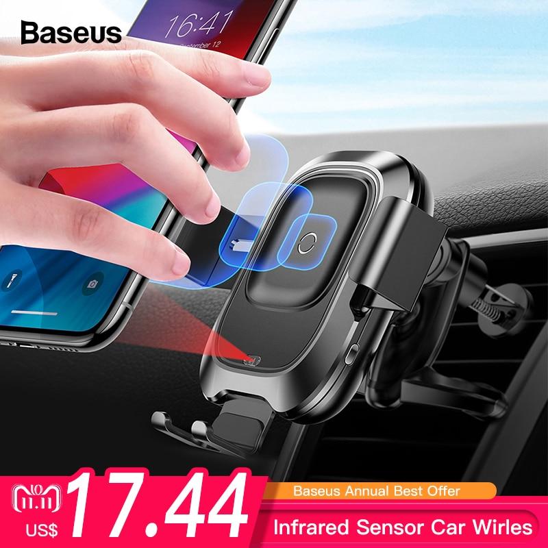 Cargador inalámbrico para coche Baseus Qi para iPhone Xs Max XR X Samsung Sensor infrarrojo inteligente rápido sin cables con soporte para teléfono de coche