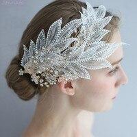 Jonnafe Charming Lace Leaf Bridal Crown Hair Jewelry Handmade Women Prom Headpiece Accessories Fashion Wedding Tiara