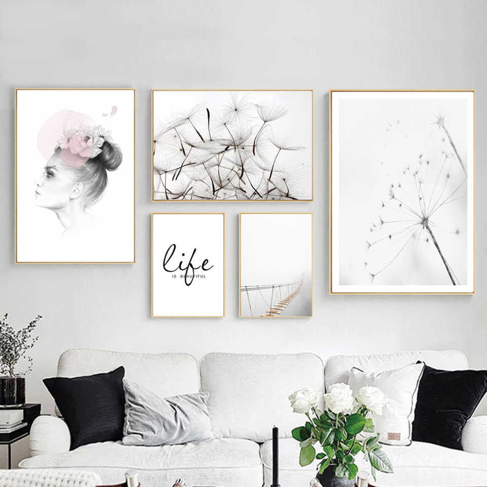 Home Decoration Modern Dandelion Nordic Style Canvas Paintings Pictures Wall Arts Prints Simple Modular Poster For Living Room