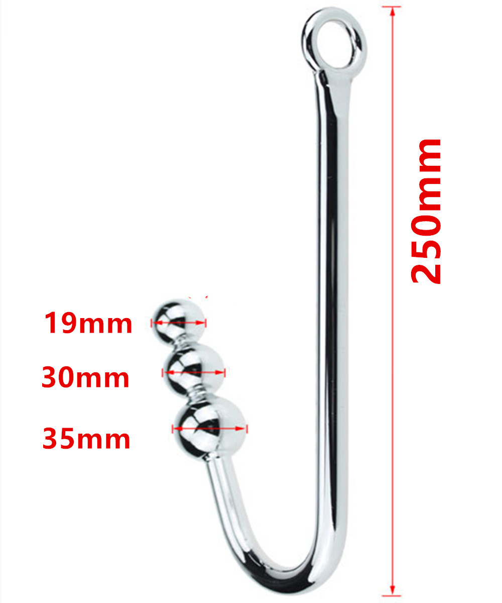 Metal Anal Hook Big Stainless Steel Anus Pleasure Beads -7876