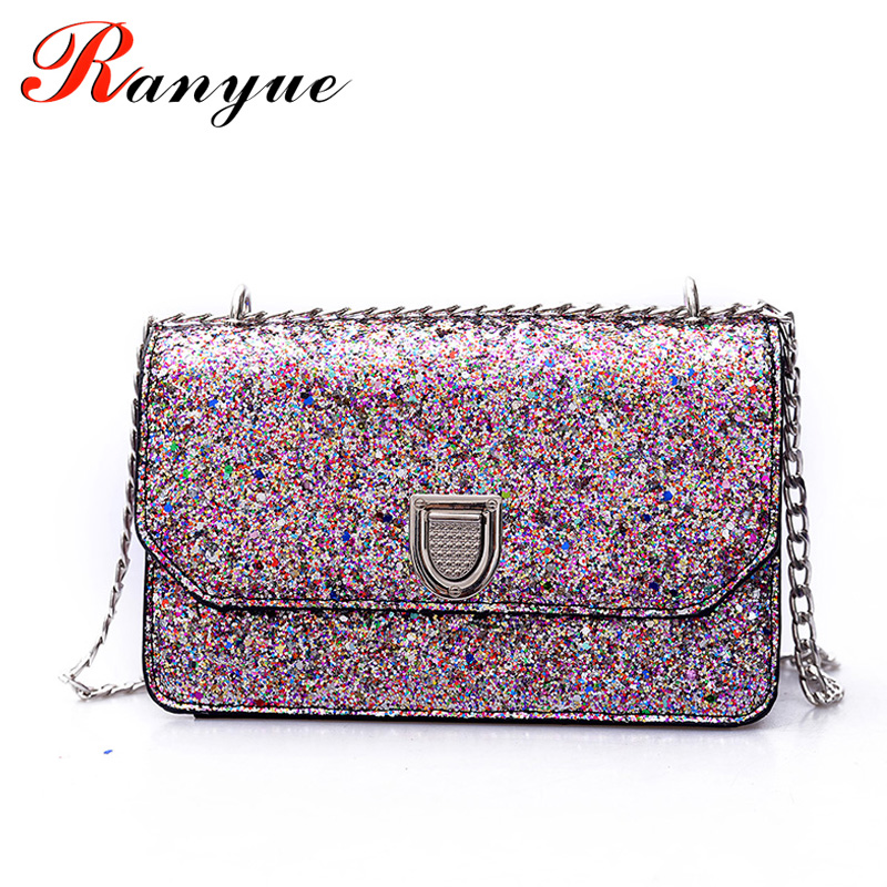 2017 New Fashion Women Bags Bright PU Leather Chain Messenger Bags Sequines Flap Crossbody Women Bags