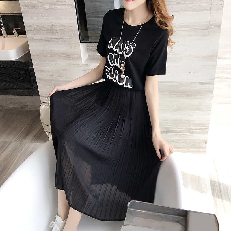 Nkandby Plus size Clothing 2018 Summer Women Casual Loose Short sleeve  Letter Print Pleated Chiffon Patchwork Black Big Dresses-in Dresses from  Women s ... ac861d5a4a0a