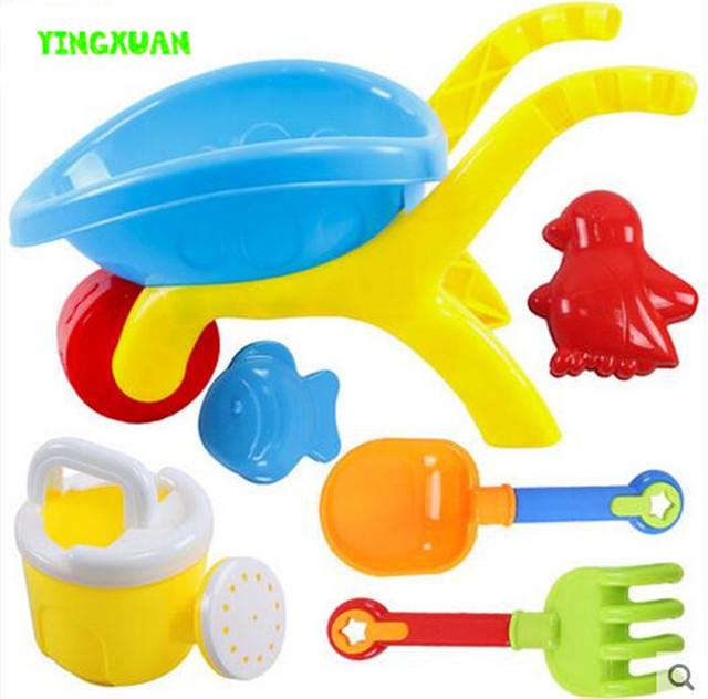 Happyxuan 6 pcs água e areia play ferramenta crianças carrinho de mão de plástico Chaleira molde Pá Ancinho Conjunto de Brinquedos de Praia para Crianças 3-6 anos de idade