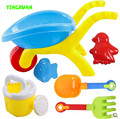 Happyxuan 6 unids play herramienta niños carretilla de plástico de agua y arena molde Pala Rastrillo Hervidor Conjunto de Juguetes de Playa Los Niños 3-6 años de edad