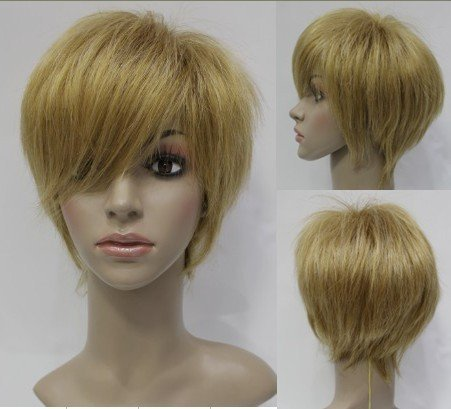 Top Quality Attractive Lady Hairstyle Short Straight Strawberry Blonde Natural Wig(Free Shipping)