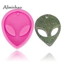 Molde de silicone para chaveiro de alienígena dy0070, brilhante, molde para chaveiro, argila polímero, faça você mesmo, joias, resina epóxi