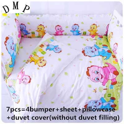 Promotion! 6/7PCS Baby Bedding Set 100% Cotton Crib Bedding for 0-7Year Children Detachable Duvet Cover , 120*60/120*70cm